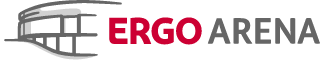 Ergo Arena logo and a link to home page